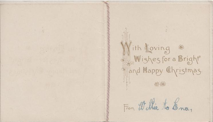 BEST WISHES in gilt below inset of 2 puppies looking up at kitten in flower-pot, violets around, dotted brown background