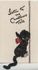 LISTEN TO MY CHRISTMAS TALE black poodle with applique tail sits facing right looking front & up
