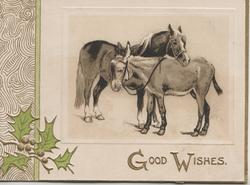 GOOD WISHES horse standing looking over back of donkey, stylised holly with white berries & design left