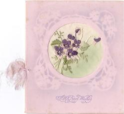 ALL GOOD WISHES in purple below embroidered violet inset with stencilled border, pink card stock