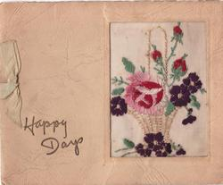 HAPPY DAYS left of embroidered basket of flowers in oblong inset