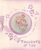 THOUGHTS OF YOU in purple below circular inset of embroidered pink flowers, stencilled purple floral border