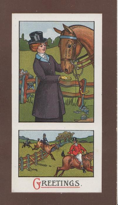 GREEETINGS below 2 insets, top huntswoman offers her horse a treat, below riders jump fence