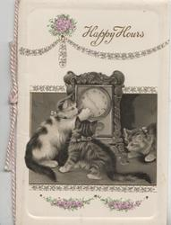 HAPPY HOURS above floral chain design, inset of cat & 2 kittens playing with clock