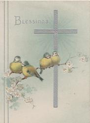 BLESSINGS 4 bluebirds of happiness perhaps English bluetits, perched on blossom in front of silver cross