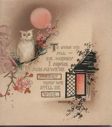 TO SUM UP....quote, owl perched left on blossom tree under pink moon, lighted cottage lower right, brown background