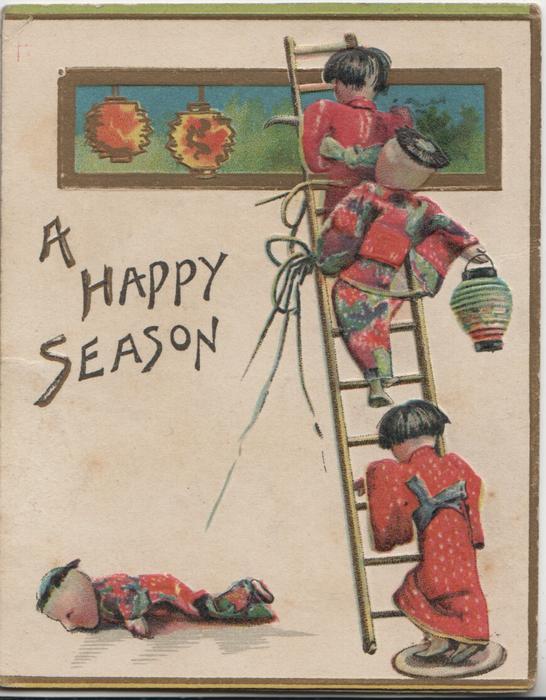A HAPPY SEASON 3 dolls climb ladder to fix  lanterns & one doll has  fallen