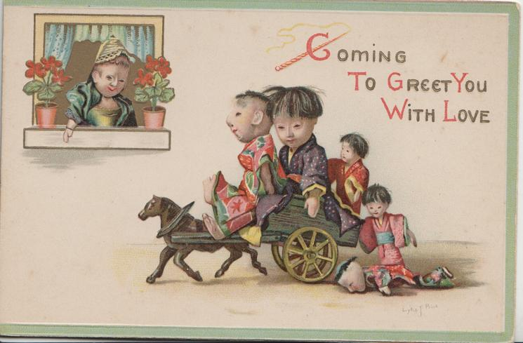 COMING TO GREET YOU WITH LOVE doll family drive left in pony & cart, another watches from window left. 2 doll children fall off behind