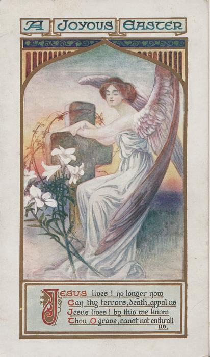 A JOYOUS EASTER above angel sleeping with arms on cross, lilies left, verse below