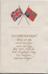 "2 flags ""GOD AND OUR RIGHT"" over verse"