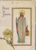 PEACE BE YOURS inset Jesus standing with lantern, his right hand raised, yellow daisy lower left