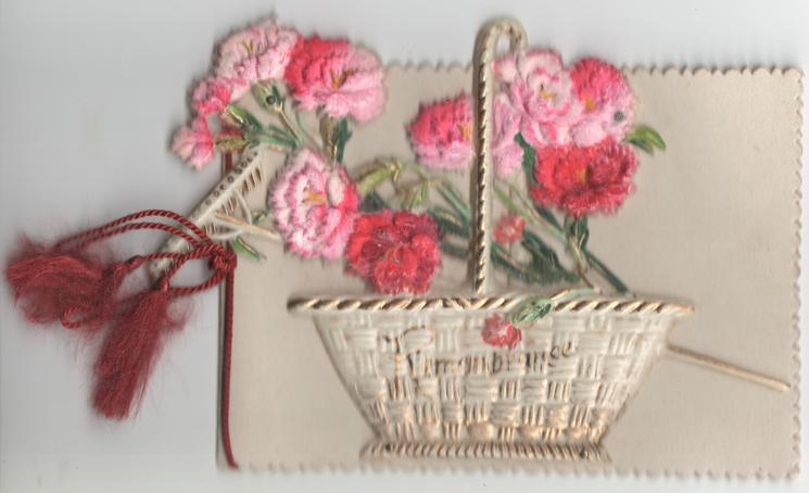 REMEMBRANCE in gilt on basket of carnations
