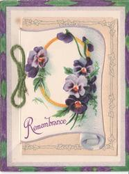 REMEMBRANCE pansies in a ring