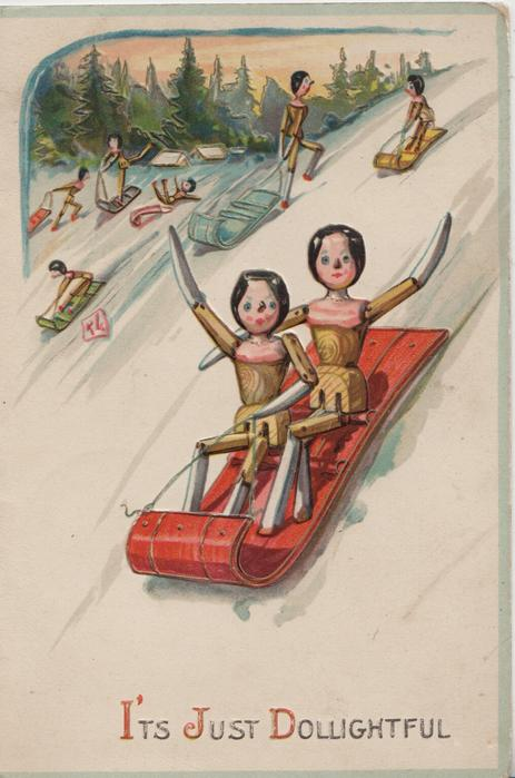I'TS JUST DOLLIGHTFUL below, 2 stick-dolls who toboggan down snowy hill