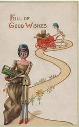 FULL OF GOOD WISHES above, stick-dolls on winding yellow path delivering mail