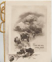 FAIR SHALL BE ALL YOUR DAYS harvest scene, horsedrawn losded with sheaves, poppies below