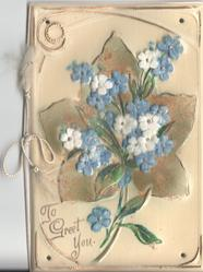 TO GREET YOU in gilt,velvette forget-me-nots over large ivy leaf