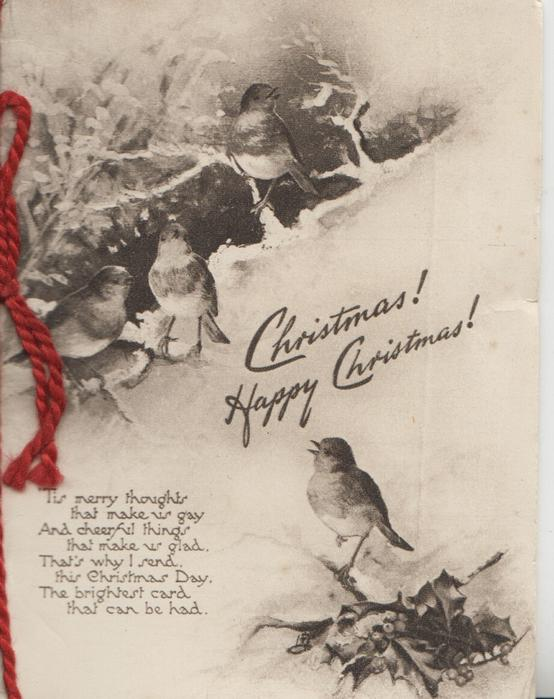 CHRISTMAS! HAPPY CHRISTMAS! 4 birds of happiness, English robins perched in snowy holly, verse