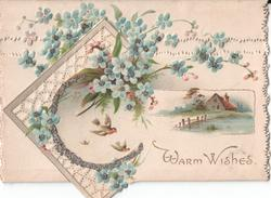 WARM WISHES, rural inset and forget-me-nots