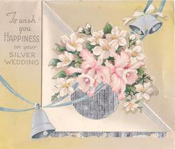 TO WISH YOU HAPPINESS ON YOUR SILVER WEDDING  die-cut floral posy over circular foil insert, 3 silvered bells