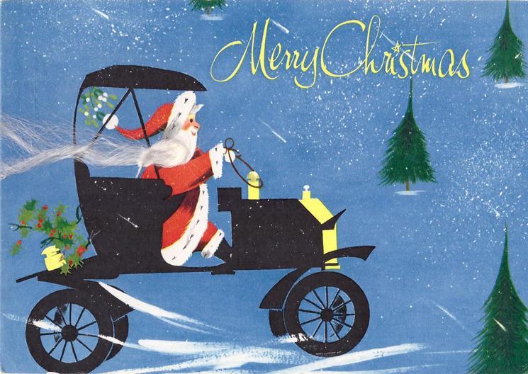 MERRY CHRISTMAS Santa drives black motor car right, long beard applique, blue background
