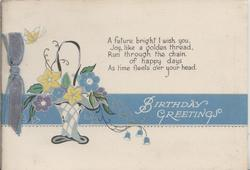 BIRTHDAY GREETINGS in white on blue stripe, verse, basket of stylised flowers left