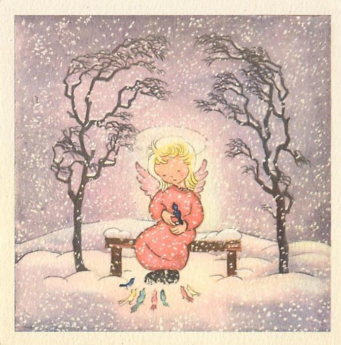 no front title, haloed angel sits on bench with bird perched in hand, 7 birds at her feet, snow falls in sky with purple hue