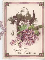 WITH BEST WISHES violets in front of rural house scene
