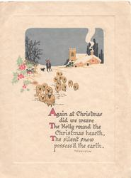 AGAIN AT CHRISTMAS verse... winter scene, 15 sheep driven front on snowy road in evening, church & farm back, stylised holly left