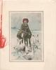 no front title, inset with lilac margins peculiar person or witch confronted by 9 geese on snowy field