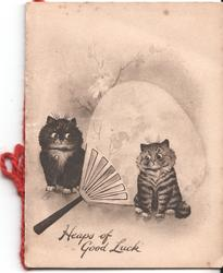 MAY ALL THINGS GLAD AND BRIGHT UNITE TO MAKE YOU HAPPY three cats, one in basket