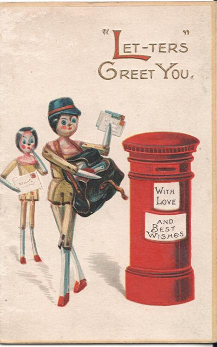 """""""LET-TERS"""" GREET YOU mailman doll stands by mailbox, doll stands in background holding letter"""