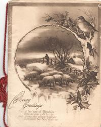 CHEERY GREETINGS below right, inset of sheep in winter, holly & English robin right