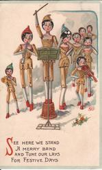 SEE HERE WE STAND A MERRY BAND AND TUNE OUR LAYS FOR FESTIVE DAYS nine dolls playing instruments