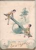 SEE SAW! SAW-CY! two dolls on see saw in winter scene