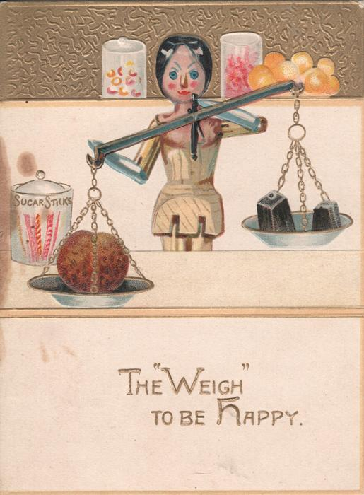 "THE ""WEIGH"" TO BE HAPPY doll weighs items on scale"