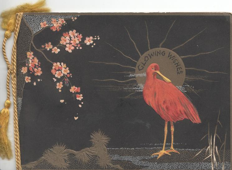 GLOWING WISHES on gilt moon over Japanese crane, blossom left , black background