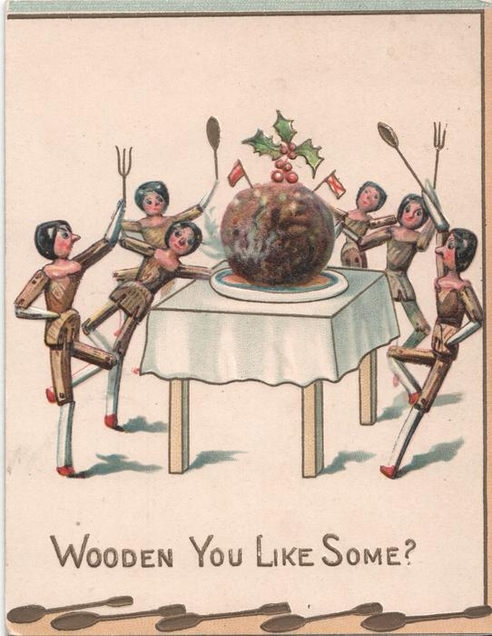 WOODEN YOU LIKE SOME? six dolls about to feast on large meatball