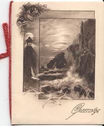 GREETINGS waves crash on cliffside, seagulls in flight