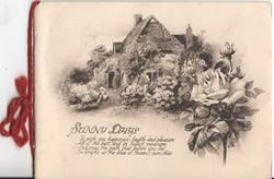 SUNNY DAYS front of house with large garden, verse on cover