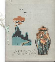 A POT-POURRI OF GOOD WISHES pot on the rigiht with decorative flowers and heron design