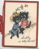 LUBLY IS THE WORD! dressed boy & girl cats sit together on branch