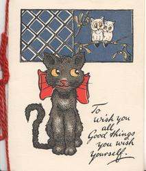 TO WISH YOU ALL GOOD THINGS YOU WISH YOURSELF. black cat wearing red bow, 2 owls perched above