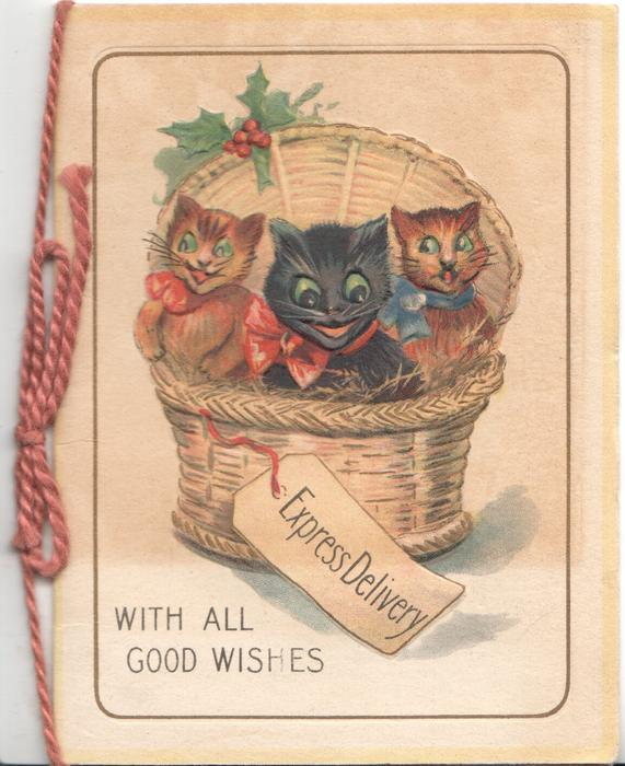 WITH ALL GOOD WISHES below basket containing one black & 2 ginger stylised cats EXPRESS DELIVERY