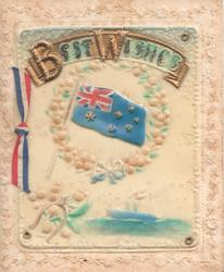 on celluloid front BEST WISHES on gilt plaque above flag surrounded by thistles over ship at sea embossed floral marginal design