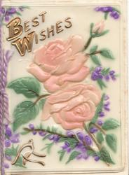 on celluloid front BEST WISHES in gilt above 2 pink roses & bud, purple heather