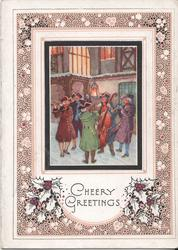 CHEERY GREETINGS inset of five men gathered in square playing music, holly