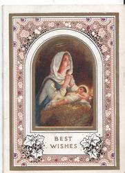 BEST WISHES Mary prays over baby Jesus in manger