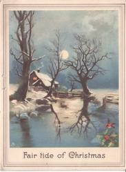 FAIR TIDE OF CHRISTMAS rural night scene, full moon