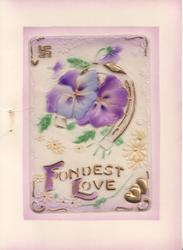 on celluloid front FULLEST LOVE(F & L illuminated), purple pansies, swastika top left